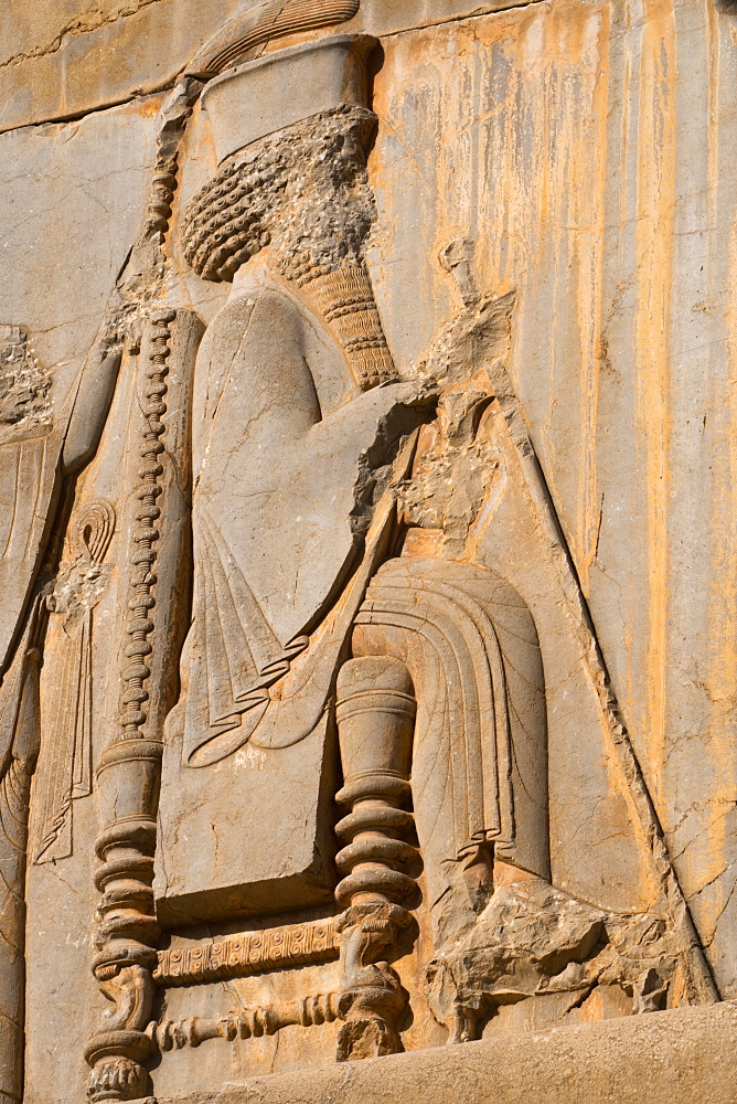 Carved relief of Darius the Great, builder of Persepolis, UNESCO World Heritage Site, Iran, Middle East
