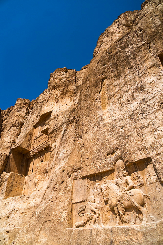 Tomb of Ataxerxes I and carved relief below, Naqsh-e Rostam Necropolis, near Persepolis, Iran, Middle East