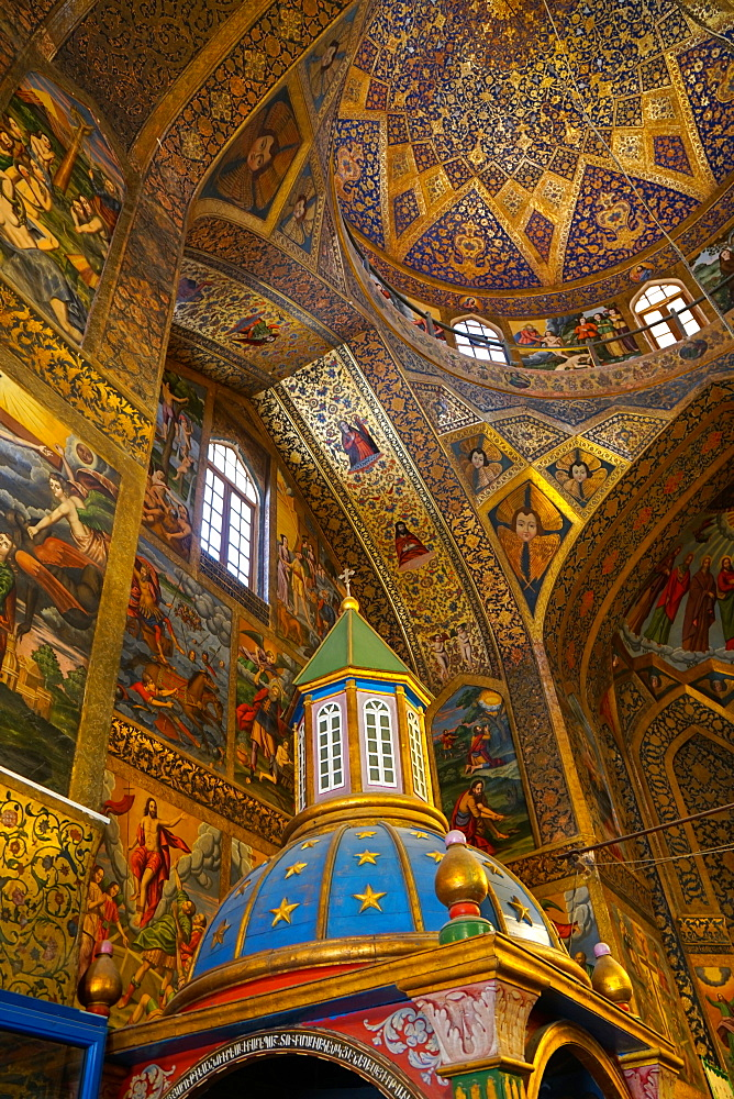 Interior of dome of Vank (Armenian) Cathedral with Archbishop's throne in foreground, Isfahan, Iran, Middle East