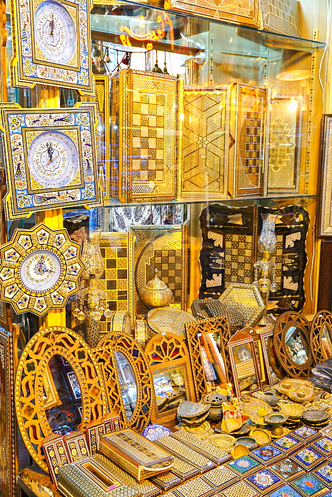 Wooden boxes and clocks for sale, Grand Bazaar, Isfahan, Iran, Middle East