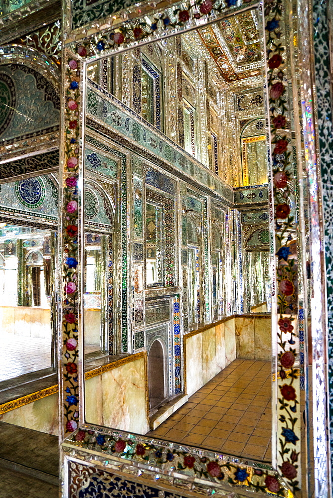 Reflections in mirrored reception hall, Khan-e Zinat al-Molk, Qavam al-Molk family's private quarters, Shiraz, Iran, Middle East