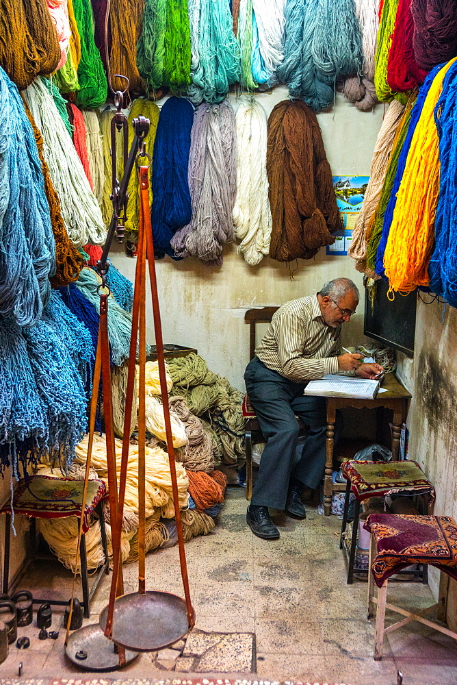 Carpet wool dealer, Old Bazaar, Kashan, Iran, Middle East