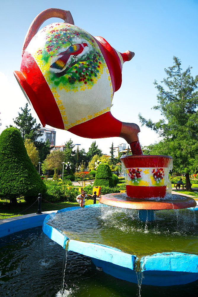 Tea pot fountain at Lahijan, centre of Iran's tea industry, Iran, Middle East