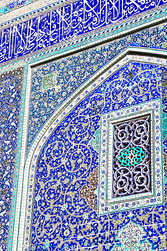 Detail of ceramic tiles on wall in Isfahan blue, Imam Mosque, UNESCO World Heritage Site, Isfahan, Iran, Middle East