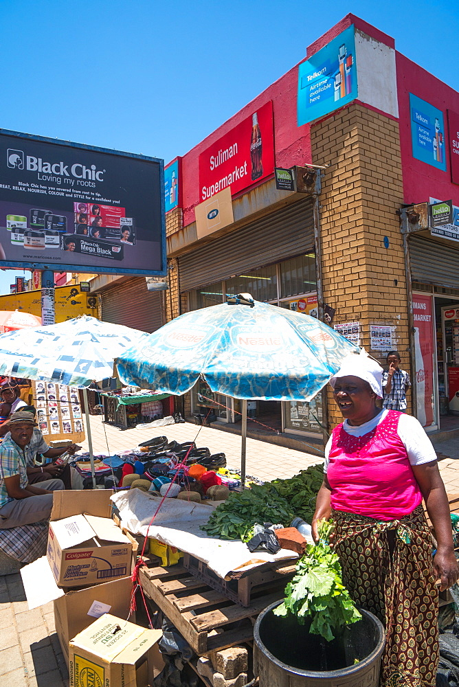 Street scene with vegetable seller in the heart of Soweto (South Western Township), Johannesburg, South Africa, Africa - 450-4209