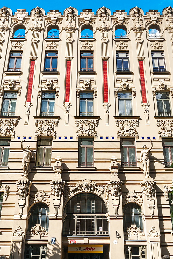 Art nouveau building facade, Alberta Street, Riga, Latvia, Europe