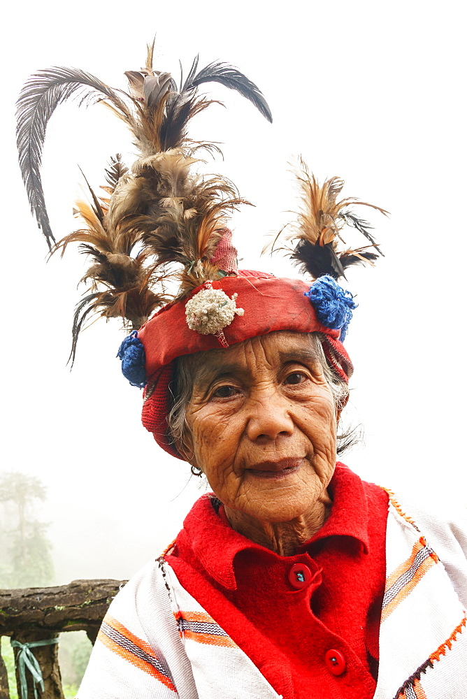 Ifugao woman in traditional dress and hat, Banaue, Luzon Island, Philippines, Southeast Asia, Asia