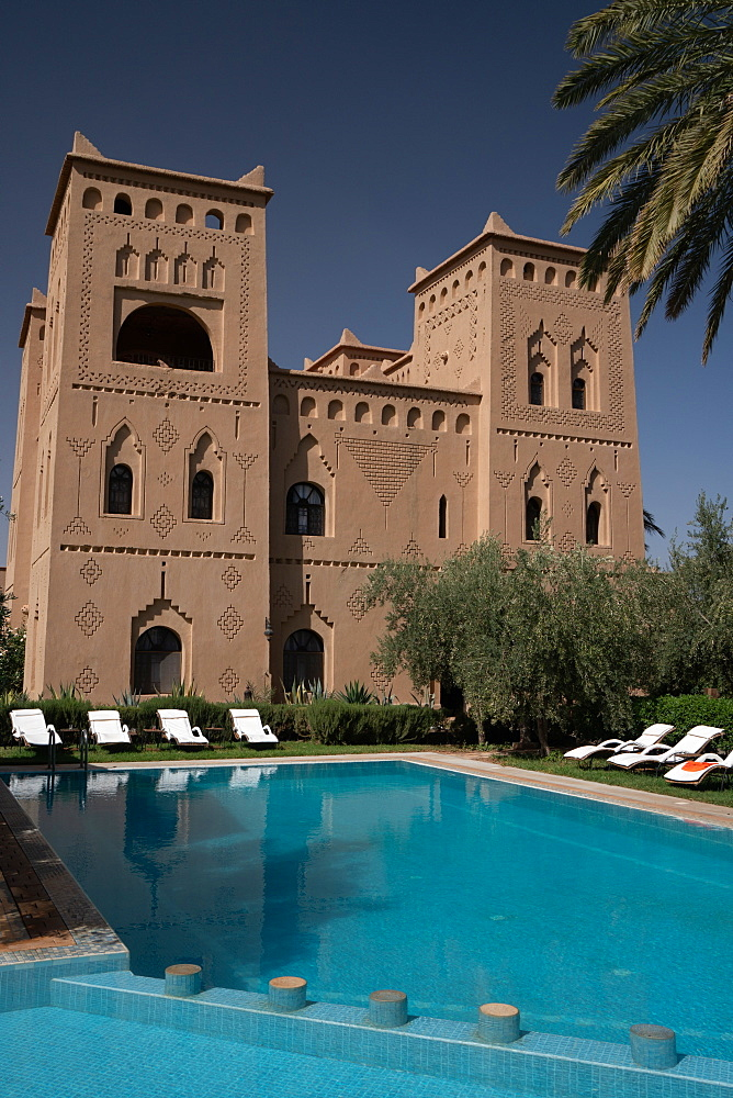 Swimming pool at Ksar El Kabbaba, former kasbah (grand fortified house), now a hotel, Skoura, Morocco, North Africa, Africa