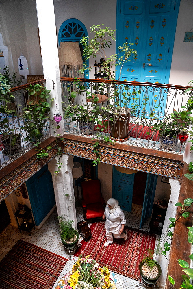 Interior gallery of traditional Moroccan house (riad), Chefchaouen (the Blue City), set in the Rif Mountains, Morocco, North Africa, Africa - 450-4392