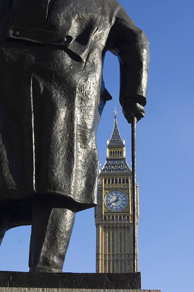 Big Ben through statue of Sir Winston Churchill, Westminster, London, England, United Kingdom, Europe