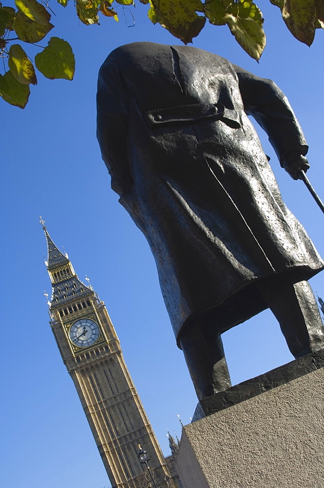 Big Ben and the Sir Winston Churchill statue, Westminster, London, England, United Kingdom, Europe