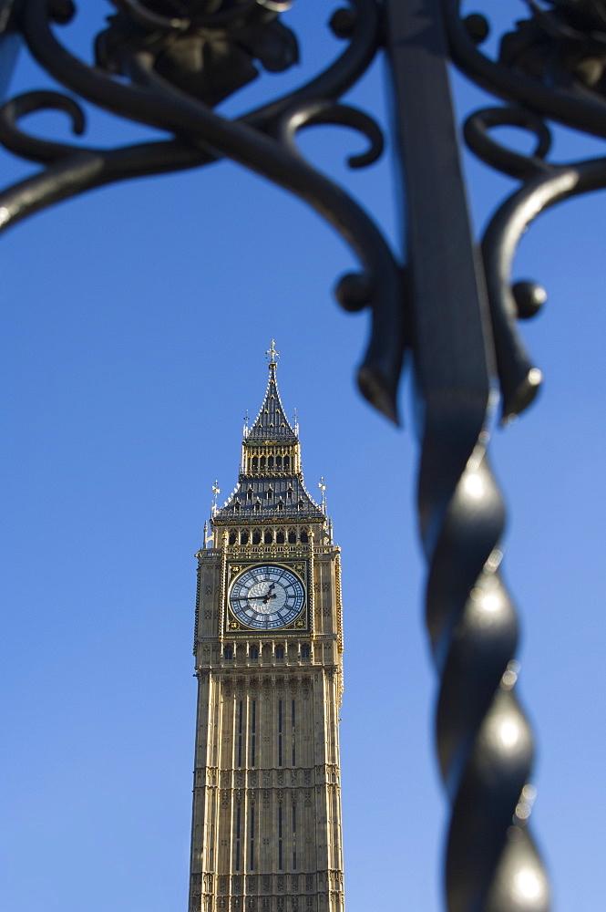 Big Ben through iron gates, Houses of Parliament, Westminster, London, England, United Kingdom, Europe