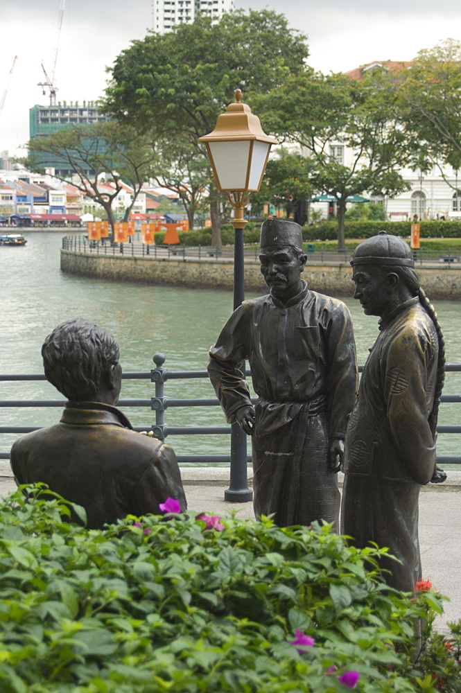 Sculpure of Chinese Merchants, Boat Quay, Singapore, South East Asia