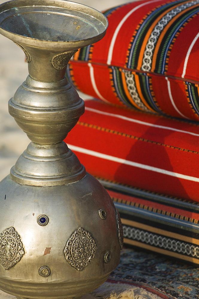 Arabic cushions and pot, Dubai, United Arab Emirates, Middle East