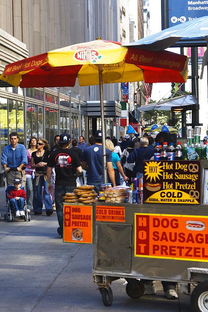 Hot dog and pretzel stand, Manhattan, New York City, New York, United States of America, North America
