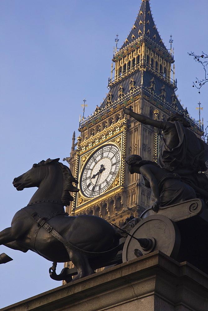 Big Ben seen through the statue of Boudica (Boadicea), Westminster, London, England, United Kingdom, Europe