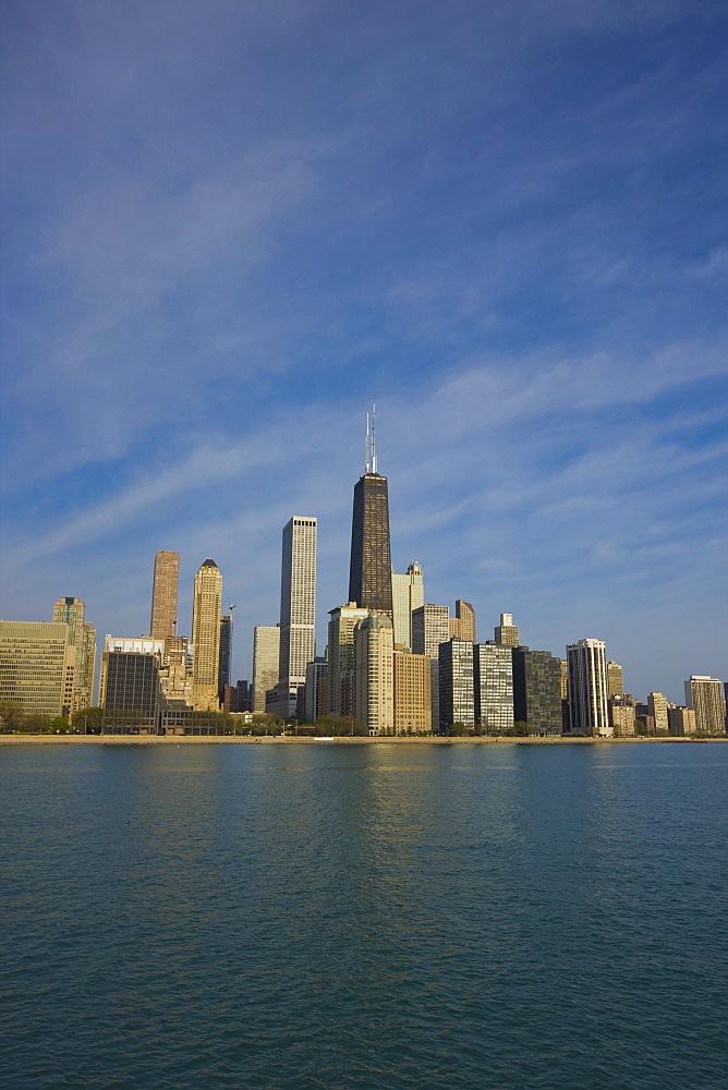 John Hancock Center and Near North Chicago skyline from Lake Michigan, Chicago, Illinois, United States of America, North America