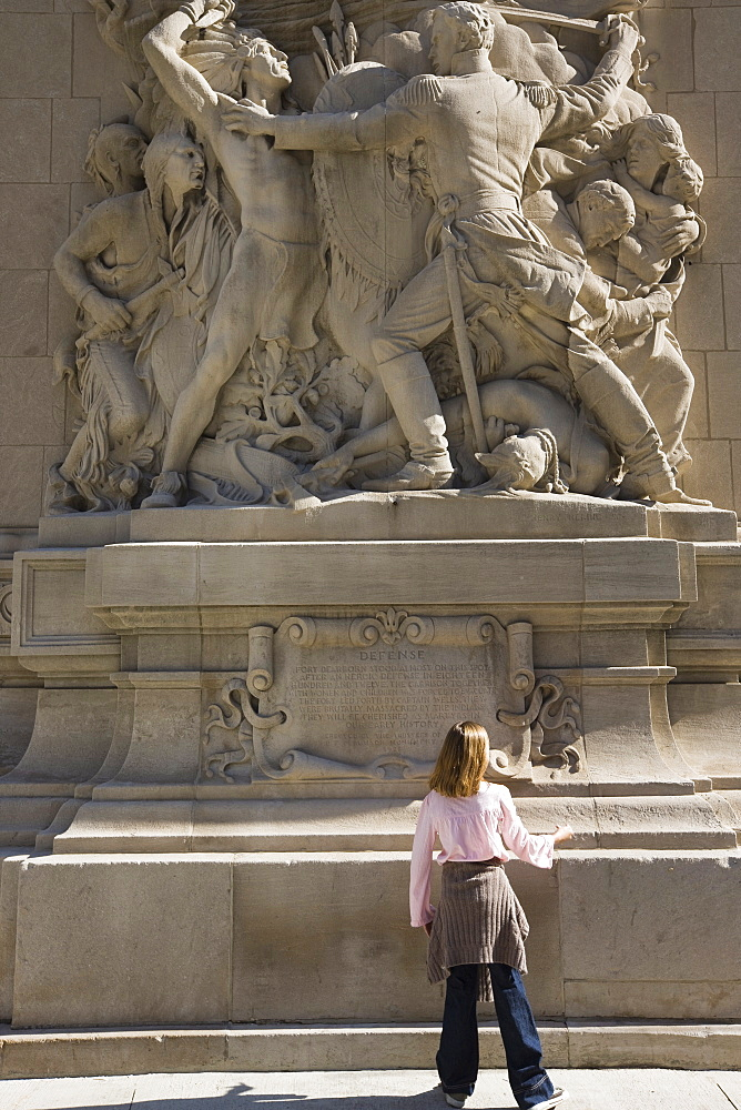 Bas relief sculpture depicting the city's early history, Michigan Avenue Bridge, Chicago, Illinois, United States of America, North America