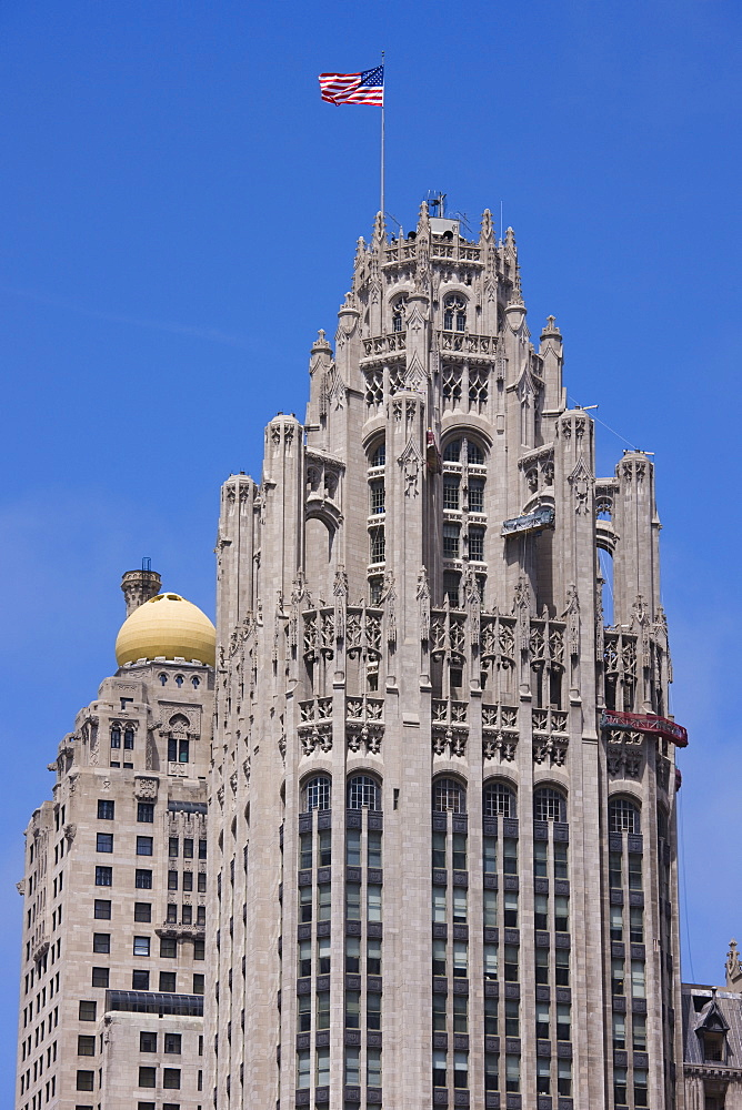 Tribune Tower, Gothic architecture, North Michigan Avenue, the Magnificent Mile, Chicago, Illinois, United States of America, North America