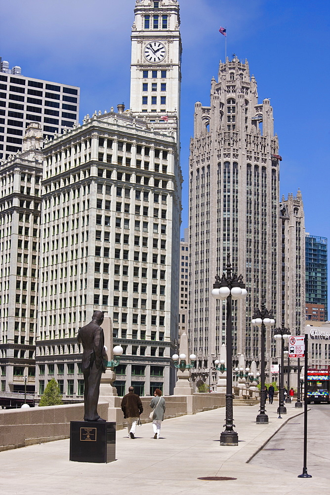 The Wrigley Building and Tribune Tower, North Michigan Avenue, the Magnificent Mile, Chicago, Illinois, United States of America, North America - 462-2277