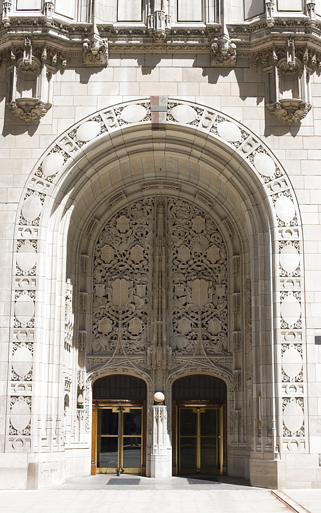Ornate Gothic style entrance to the Tribune Tower, Chicago, Illinois, United States of America, North America