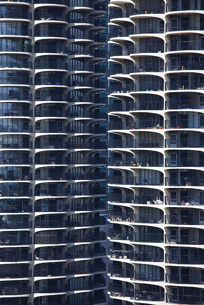 Close-up of Marina City's twin towers, Chicago, Illinois, United States of America, North America - 462-2292