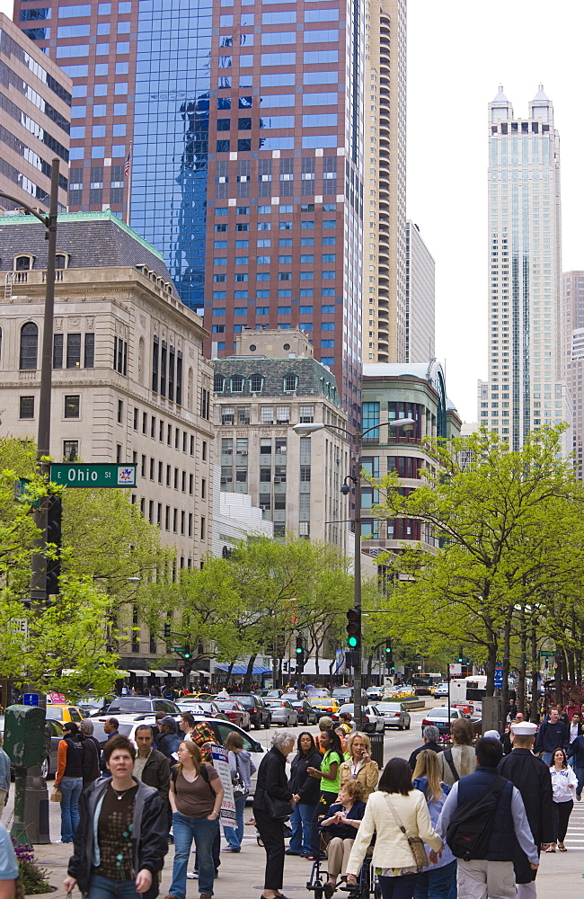 Shoppers on the Magnificent Mile, North Michigan Avenue, Chicago, Illinois, United States of America, North America - 462-2296