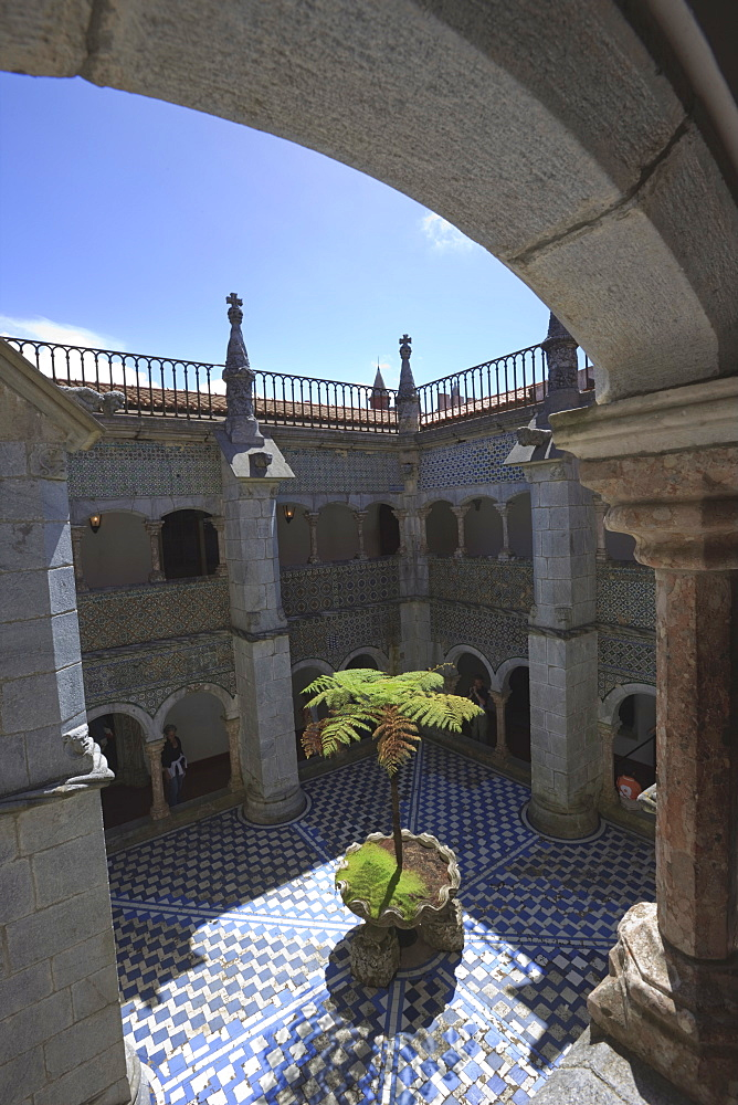 Courtyard in Pena National Palace, Sintra, UNESCO World Heritage Site, Portugal, Europe