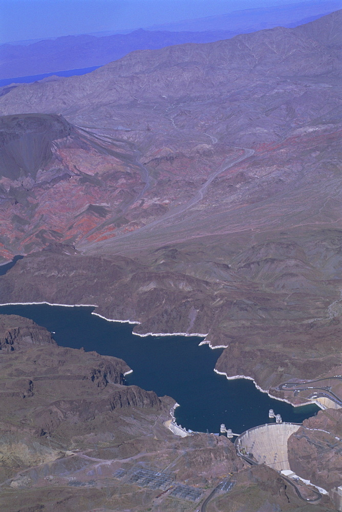 Aerial view of the Hoover Dam and Lake Mead, Nevada, USA, North America