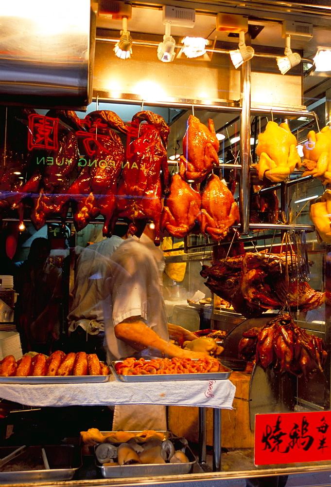 Peking ducks hanging in shop window, Hong Kong, China, Asia