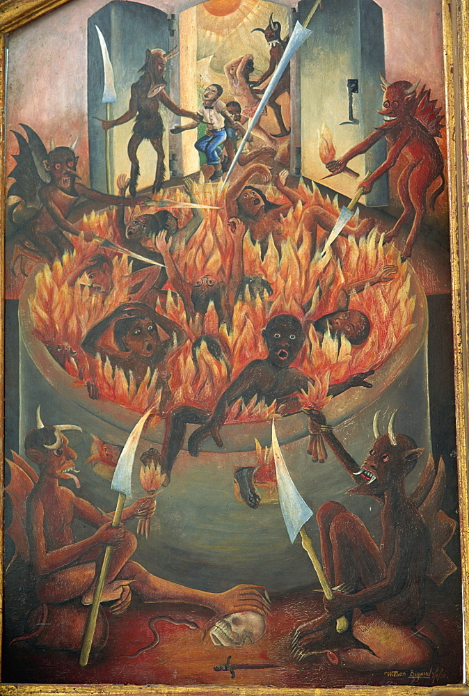 Vision of hell, tryptych panel painted by Wilson Bigaud in 1957, Port au Prince, Haiti, West Indies, Central America