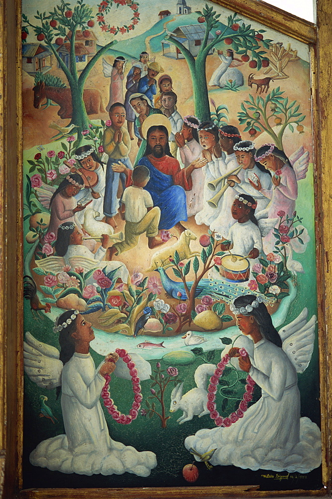 Vision of heaven, tryptych panel painted by Wilson Bigaud in 1957, Port au Prince, Haiti, West Indies, Central America