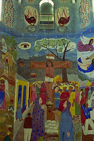 Crucifixon mural, painted by Castrat e Basil in 1950, Episcopal Cathedral, Port au Prince, Haiti, West Indies, Caribbean, Central America