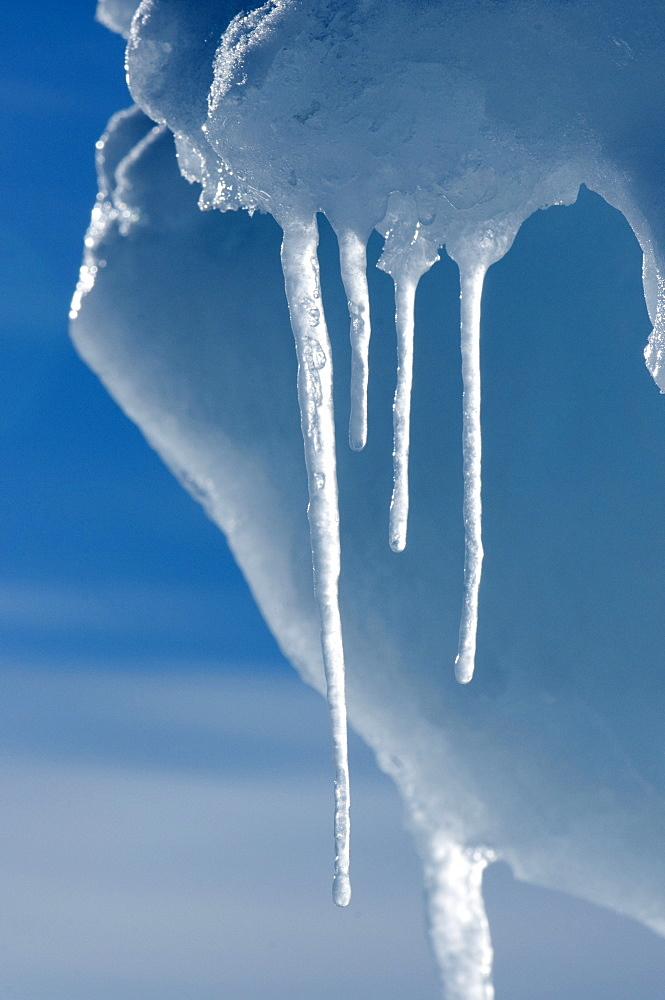 Ice melting in the high Arctic sun in spring, Nunavut, Canada, North America