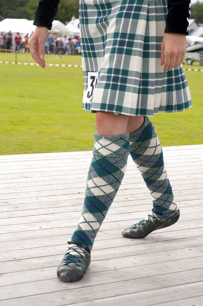 Male dancer's kilt and pumps, Abernethy Highland Games, Scotland, United Kingdom, Europe