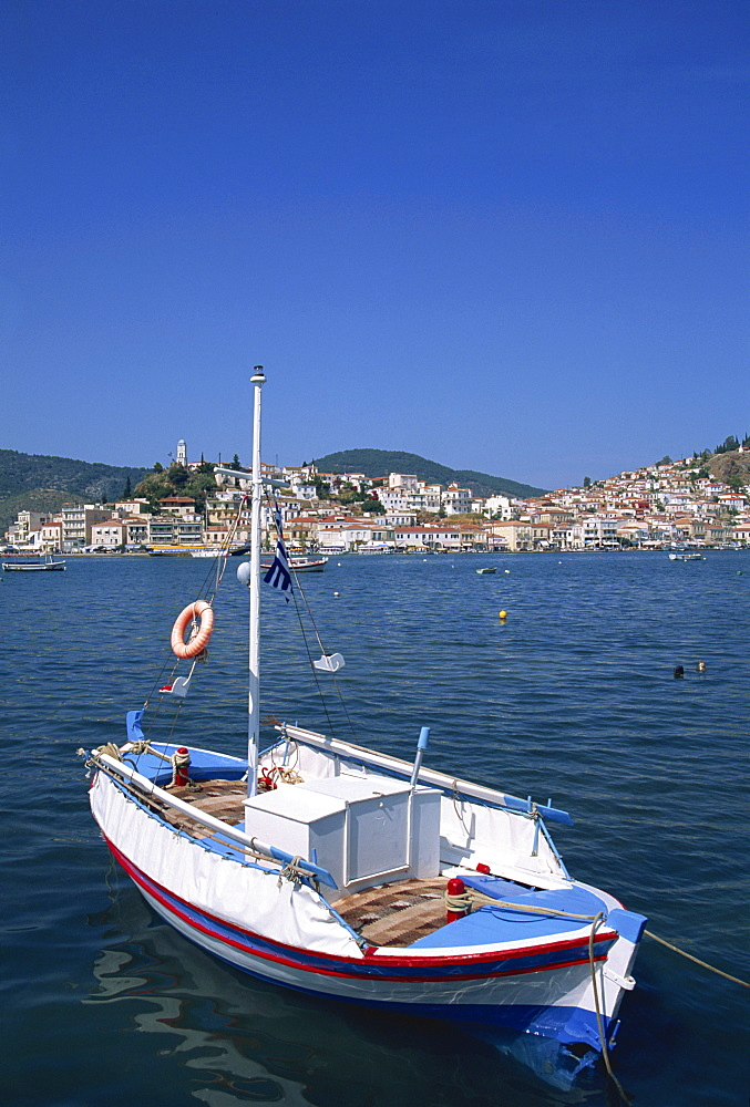 Small boat in harbour on Poros, Saronic Islands, Greek Islands, Greece, Europe
