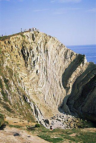 Folded limestone, Stair Hole, Lulworth Cove, Dorset, England, United Kingdom, Europe
