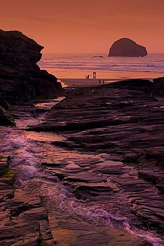 Sunset, Trebarwith Strand, Cornwall, England, United Kingdom, Europe