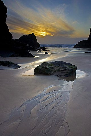 Evening, Bedruthan Steps, Cornwall, England, United Kingdom, Europe