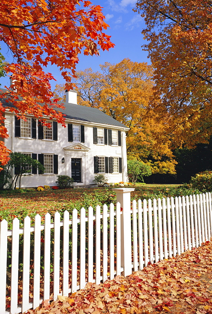 Clapperboard houses and fence in autumn, Lexington, Massachusetts, New England, USA, North America - 485-2862