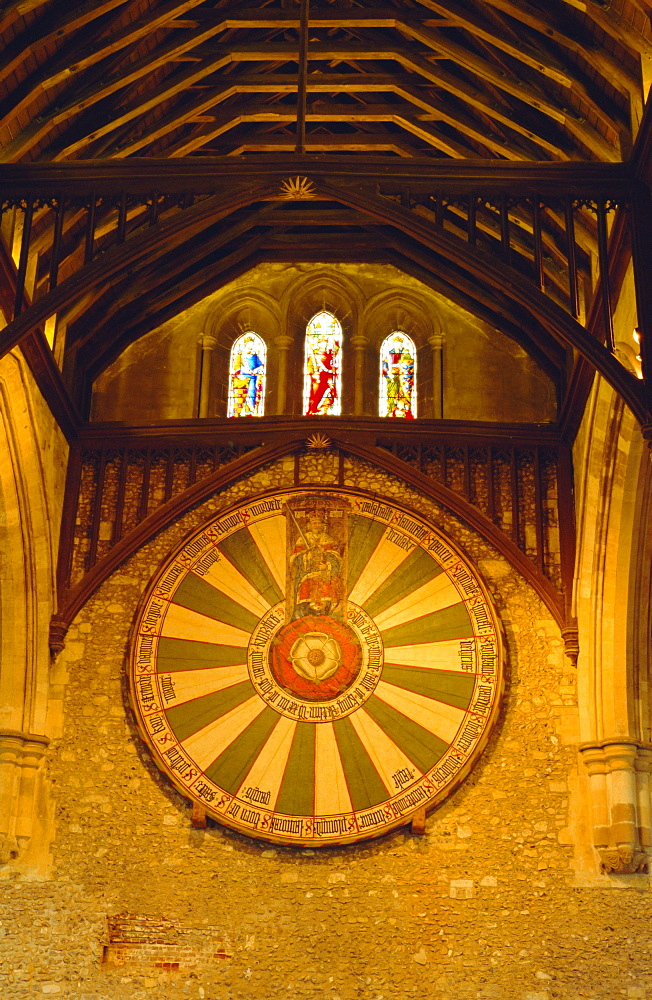King Arthur's Round Table hanging in the Great Hall, Winchester, England, UK