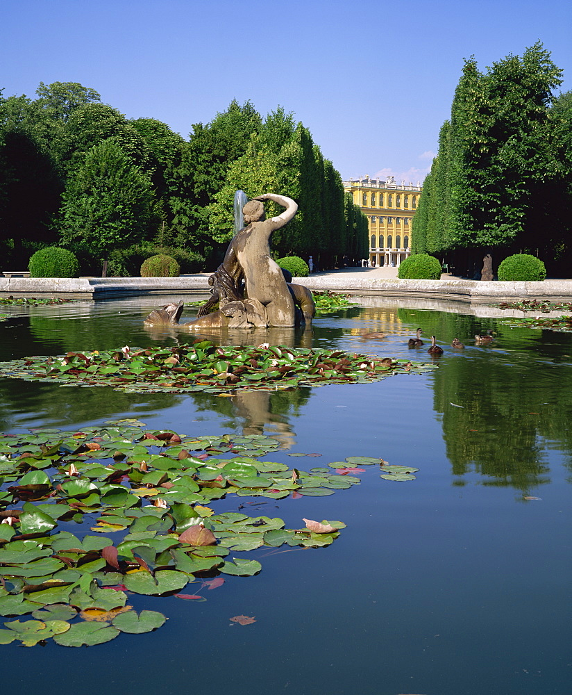Lily pond and Naiad fountain in the garden of the Schonbrunn Palace, UNESCO World Heritage Site, Vienna, Austria, Europe