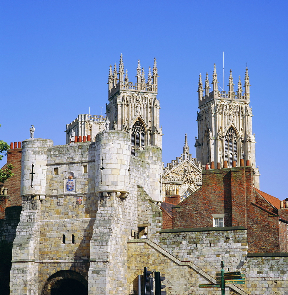 Bootham Bar and York Minster, York, Yorkshire, England, UK, Europe