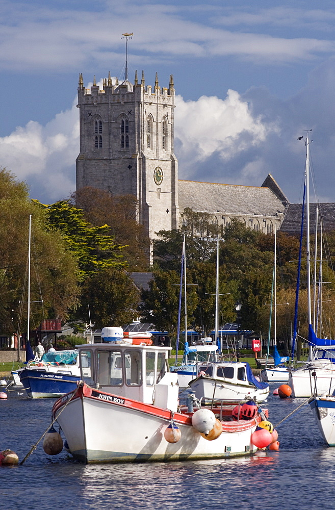 Christchurch Priory and River Stour, Dorset, England, United Kingdom, Europe - 485-9659