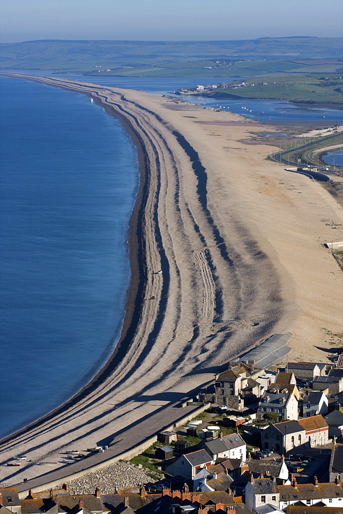 Chesil Beach and The Fleet Lagoon, Weymouth, Dorset, England, United Kingdom, Europe - 485-9667