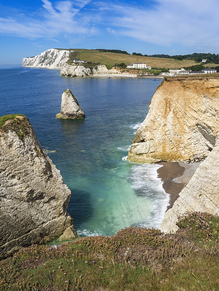 Freshwater Bay and chalk cliffs of Tennyson Down, Isle of Wight, England, United Kingdom, Europe - 485-9695