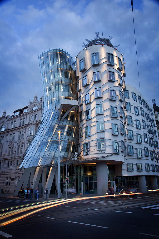 Dancing House (Fred and Ginger Building), by Frank Gehry built in 1996, at dusk, Prague, Czech Republic, Europe