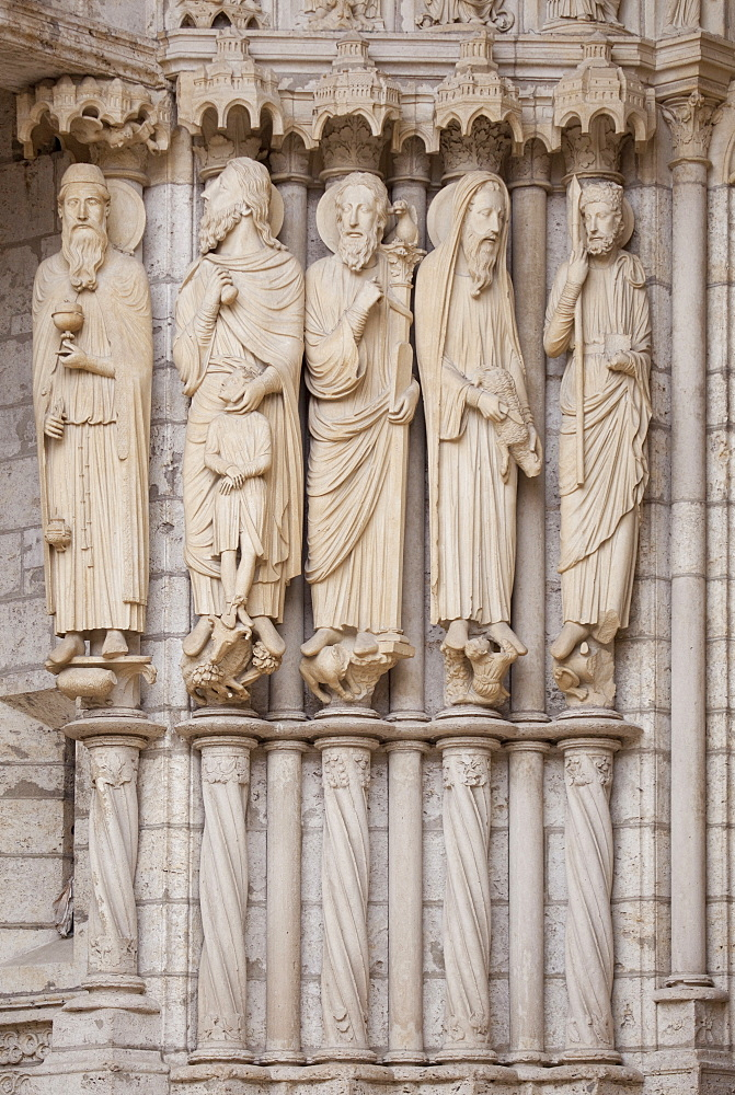 Medieval carvings of Old Testament figures including Abraham with Isaac, Moses and David, on North Porch, Chartres Cathedral, UNESCO World Heritage Site, Eure-et-Loir Region, France, Europe