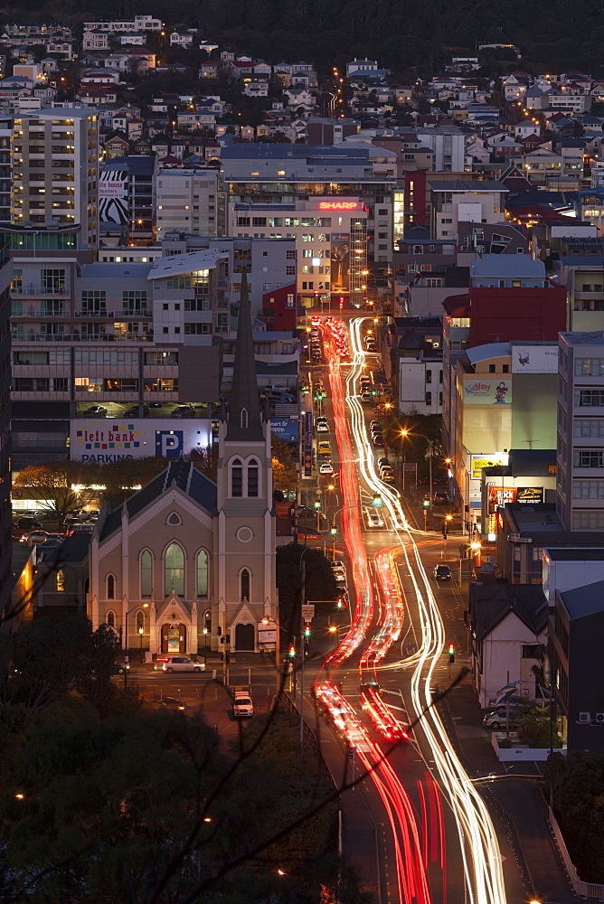 St. Peter's on Willis Church and Ghuznee Street at night, Wellington, North Island, New Zealand, Pacific