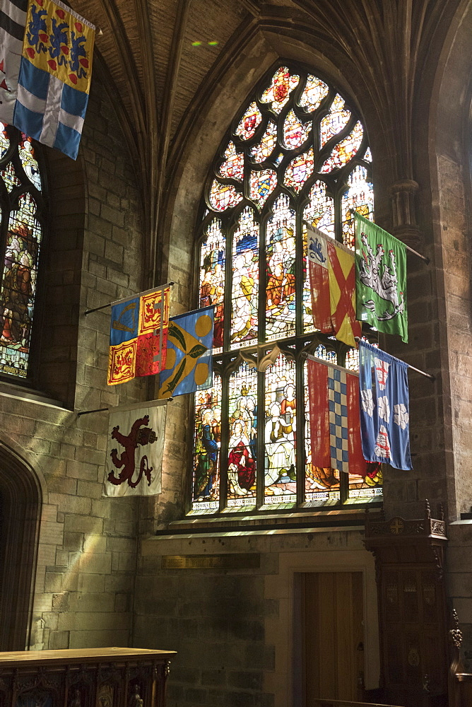 Banners of the Knights of the Order of the Thistle, St. Giles' Cathedral, Edinburgh, Scotland, United Kingdom, Europe